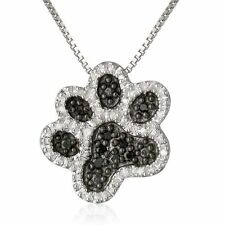 Charm Footprint Pendant Silver Mom Dog Paw Crystal Rhinestone Box Chain Necklace