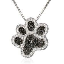New Footprint Pendant Silver Mom Dog Paw Crystal Rhinestone Box Chain Necklace