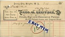 1907 BILLHEAD New Jersey City Heights GEORGE W HERITAGE Sign Painter PALISADE