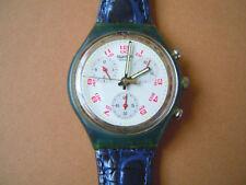 Swatch Swiss Unisex Armbanduhr Water Resistant 22 Jewels Lederband Blau