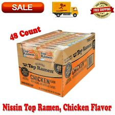 Nissin Top Ramen, Chicken Flavor, 3 Ounce, 48 Count, No Added MSG, No Trans Fat