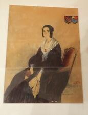 Superbe  portrait d'une Comtesse, et ses armoiries, aquarelle signée datée 1841