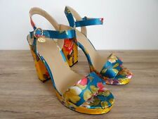 RIVER ISLAND COLOURFUL PRINTED BLOCK HEEL PLATFORM SANDALS SIZE UK 7 EU 40