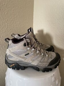Merrell Moab 2 Mid Waterproof J06054 Hiking Boots Sz 8 Womens Granite Gray