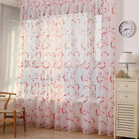 Floral Type Drape Panel Sheer Scarf Valance Tulle Voile Door Room Window Curtain