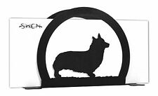 Swen Products Welsh Corgi Pembroke Dog Black Metal Letter Napkin Card Holder