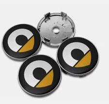 4 Tappi Coprimozzo in lega logo Cerchi Stemma giallo Smart Fortwo Forfour 60 mm