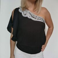 White House Black Market Womens Silk Blouse One Sleeve Shirt Elegant Top Sz 6