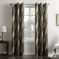 PAIR (2) No. 918 Intersect Wave Print Casual Textured Curtain Panels Spruce Set