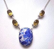 COLLIER en pierre bleu marbré & citrine & argent 925 PETIT superbe