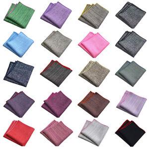 Men Linen Cotton Solid Color Pocket Square Casual Handkerchief Business Hanky