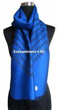 4-Ply Jacquard 100% Cashmere Pashmina Tear Drops Women Shawl Scarf Royal Blue