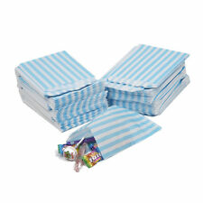 "100 LIGHT BLUE CANDY STRIPE PAPER PARTY SWEET BAGS 5"" x 7"" - CANDY CART WEDDING"