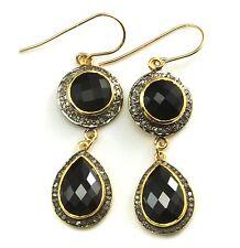 14k Yellow Gold Black Onyx Earrings Pave Champagne Diamonds Bezel Double Long