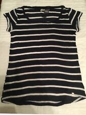HOLLISTER  Women's Dark Blue / White Stripe U Neck Short Sleeve Sweater Sz. M