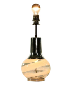 Doria Tisch Lampe Glas Fuß Leuchte innenbeleuchtet Vintage 60er 70er Jahre
