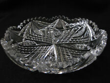Vintage 8 in cut glass leaded shallow bowl geometric pattern excellent condition