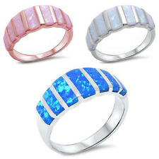 Wide Stackable Opal Band .925 Sterling Silver Engagement promise Fashion Ring