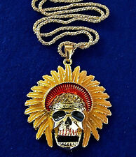 SKULL Head Chief BIG Rhinestone Halloween Costume Cross GOLDEN Retro Necklace
