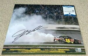 JEFF GORDON SIGNED 11X14 PHOTO NASCAR RACING BURNOUT WIN INDY DAYTONA 500 BAS A