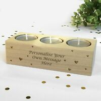 Personalised Tea Light Candle Holder With Message, Birthday or Anniversary Gift