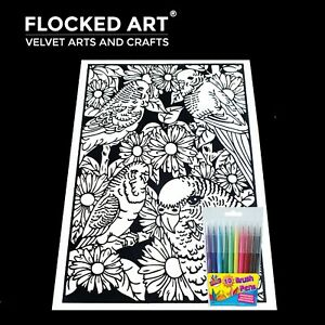 Velvet Colouring Art Birds Very Large 50cm x 35cm 20 Inches x 14 inches