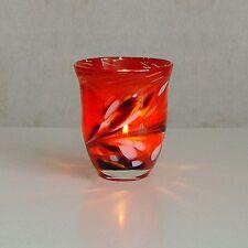 Windlicht Glas Dekoration Teelicht Tomatorot mit buntem unikatem Motiv