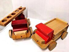 2 Vintage Wooden Toy Trucks Red Cab Wrecker Ladder