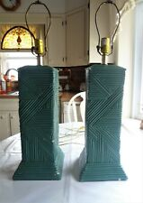 Pair Elite Solid Abstract Lined Green Pottery Ceramic Table Lamp Signed 92 (c)