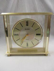 Bulova Grand Prix Executive Desk Mantle Shelf Clock Japan Quartz B1704 T7 KW280