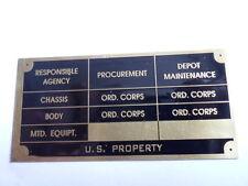 Nameplate Jeep Id-Plate Brass Shield s10 Military WW2 II M 38