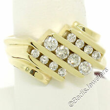 14K Yellow Gold 1.00ctw Round Diamond Diagonal Channel Wide Mens Band Ring