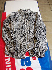 Women's Small, Tommy Hilfiger, Paisley Print, Button Front Blouse, Black/White