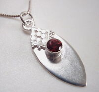Faceted Garnet Tribal Style 925 Sterling Silver Necklace Corona Sun Jewelry