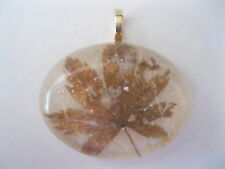 VINTAGE DRIED LEAFS PENDANT~HANDMADE JAPANESE PAPER~SILVER PLATED BAIL~HAND MADE
