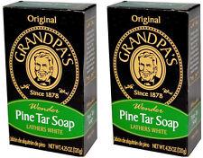 Two (2) Pine Tar Soap Bars (4.25 oz size) - Grandpa's Soap.  Factory Fresh