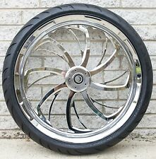 "SWEEPER CHROME CUSTOM FRONT 21"" WHEEL TIRE PACKAGE HARLEY FLH DUAL DISC 00-07"