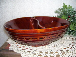 Brown Marcrest Stoneware Divided Dish USA
