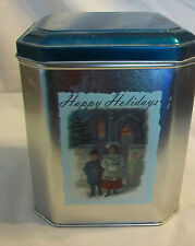 DECORATIVE METAL TIN, HAPPY HOLIDAYS, CHILDREN IN WINTER CLOTHING