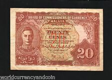 MALAYA MALAYSIA 20 CENTS P9A 1941 KING GEORGE VI CURRENCY MONEY BILL BANK NOTE