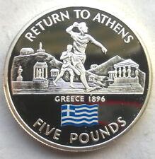 Gibraltar 2004 Athens 5 Pounds Silver Coin,Proof