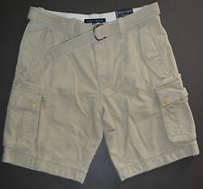 NWT Mens TOMMY HILFIGER Casual Belted Cargo Shorts, Biege, Size 32, Regular Rise