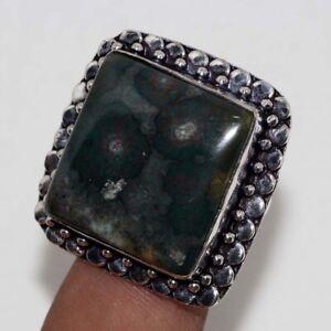 Bloodstone 925 Silver Plated Handmade Gemstone Ring us 8.5 Jewelry Gift JW