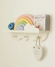 Nursery cloud peg shelf hand made painted Annie Sloan Old White pine Shaker Pegs