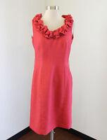 Tahari ASL Levine Coral Ruffle Neck Sheath Dress Size 4 Sleeveless Office Work