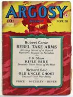 Argosy Weekly Sept. 28, 1940 Pulp Magazine, Robert Carse, C.K. Shaw