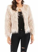 Anself Shaggy Faux Fur Coat Solid Color Long Sleeve Short Jacket Beige SizeLarge