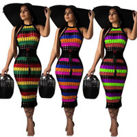 Women Fashion New Backless Hollow Out Sleeveless Colourful Print Casual Dress