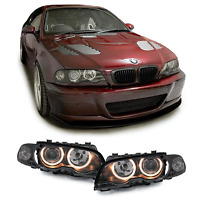 2 FEUX PHARE AVANT ANGEL EYES BMW SERIE 3 E46 COUPE CABRIOLET 1999 A 03/2003