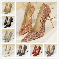 Women's Fashion High Stiletto Heel Glitter Tip Toe Pumps Party Shoes Size UK 2-6